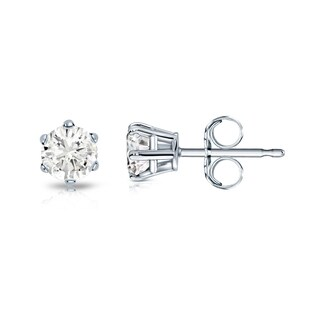 Auriya 14k Gold 1/4ct TDW Round Diamond Solitaire Six-Prong Stud Earrings