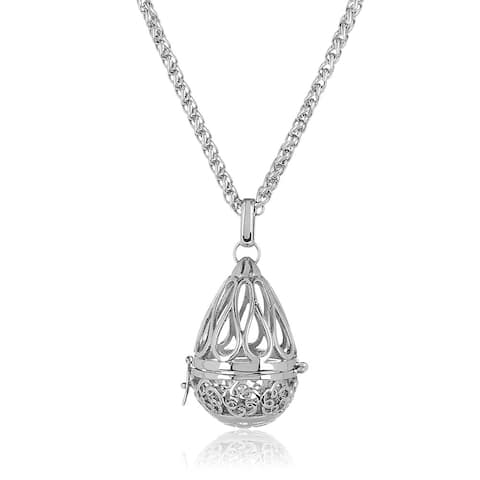 ELYA High Polish Stainless Steel Open Floral Teardrop Locket Pendant on 24-inch Wheat Chain Necklace - Silver