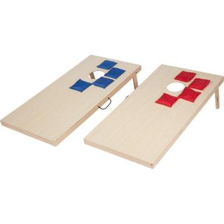 Trademark Innovations Red and Blue Wood 4-inch Bean Bag Toss Set with 8 Bean Bags