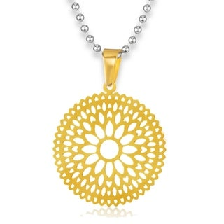 ELYA High Polish Radiant Bohemian Floral Disc Stainless Steel Pendant on 24 Inch Ball Chain Necklace