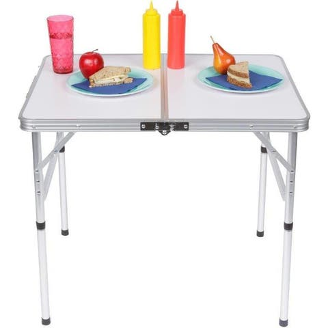 Trademark Innovations Lightweight, Adjustable, Portable Folding Aluminum Camp Table with Carry Handle