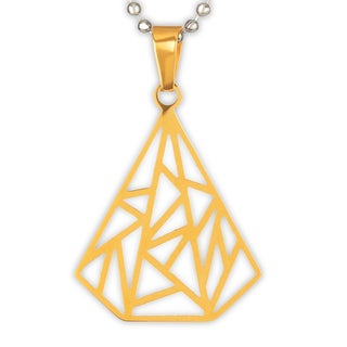 ELYA Gold Plated Geometric Diamond Shape Stainless Steel Pendant on 24 Inch Ball Chain Necklace
