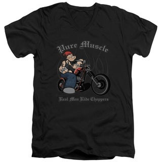 Popeye/Pure Muscle Short Sleeve Adult T-Shirt V-Neck in Black
