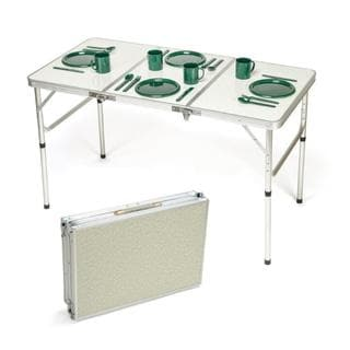 Trademark Innovations Aluminum Portable and Adjustable Lightweight Folding Table