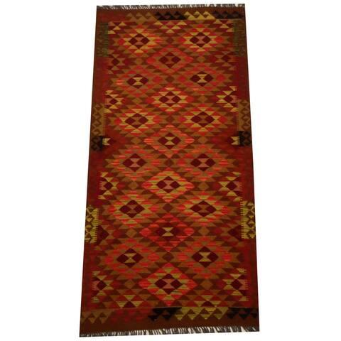 Handmade One-of-a-Kind Vegetable Dye Wool Kilim (Afghanistan) - 3'3 x 6'6