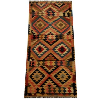 Herat Oriental Afghan Hand-woven Vegetable Dye Wool Kilim (3'1 x 6'7)