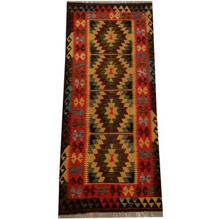 Herat Oriental Afghan Hand-woven Vegetable Dye Wool Kilim Runner (2'9 x 6'5)