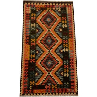 Herat Oriental Afghan Hand-woven Vegetable Dye Wool Kilim (3'4 x 5'11)