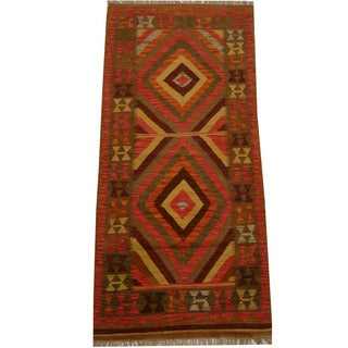 Herat Oriental Afghan Hand-woven Vegetable Dye Wool Kilim Runner (2'11 x 6'5)