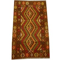 Herat Oriental Afghan Hand-woven Vegetable Dye Wool Kilim - 3'7 x 6'6