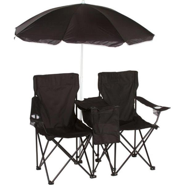 Trademark Innovations Black Double Folding Camp Chair with Removable Umbrella and Cooler