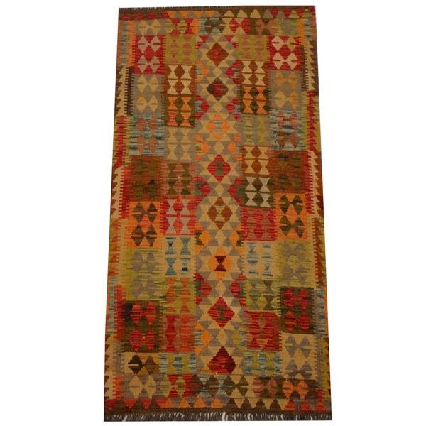 Herat Oriental Afghan Hand-woven Vegetable Dye Wool Kilim - 3'3 x 6'5