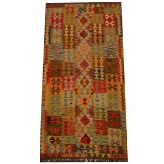 Herat Oriental Afghan Hand-woven Vegetable Dye Wool Kilim (3'3 x 6'5)