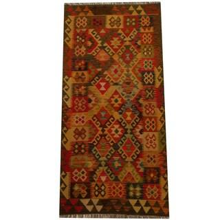 Herat Oriental Afghan Hand-woven Vegetable Dye Wool Kilim (3' x 6'5)