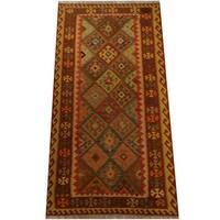 Herat Oriental Afghan Hand-woven Vegetable Dye Wool Kilim - 3'3 x 6'6