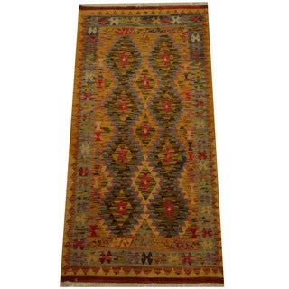 Herat Oriental Afghan Hand-woven Vegetable Dye Wool Kilim (3'2 x 6'6)