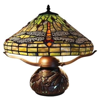 Jaffa 2-light Green Dragonfly 16-inch Mosaic Base Tiffany-style Table Lamp