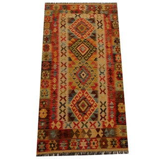 Herat Oriental Afghan Hand-woven Vegetable Dye Wool Kilim - 3'3 x 6'5