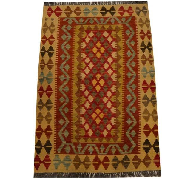 Herat Oriental Afghan Hand-woven Vegetable Dye Wool Kilim (2'7 x 3'1)