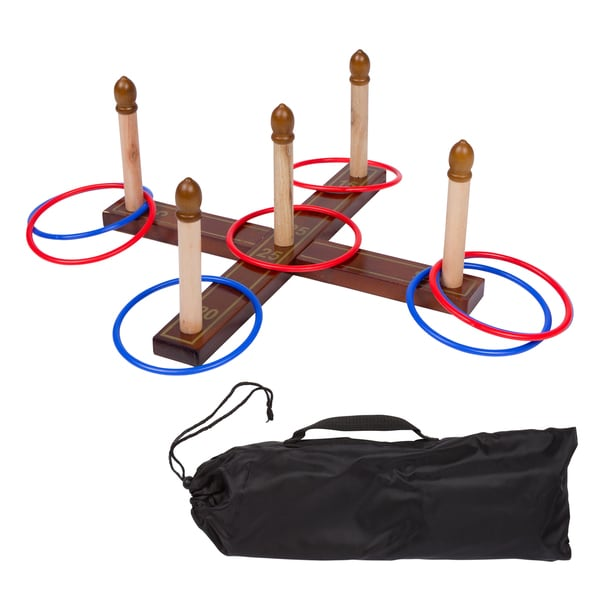Trademark Innovations Red/Blue 8-Ring Chestnut Wood Tailgate Ring Toss Lawn Game Set With Carry Bag