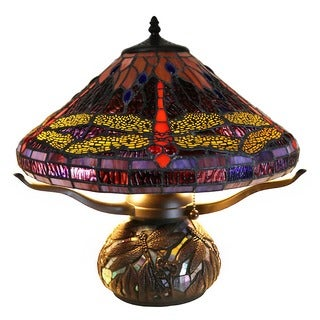 Warehouse of Tiffany Jacenia Tiffany-style Purple Dragonfly 2-light 16-inch Mosaic Base Table Lamp