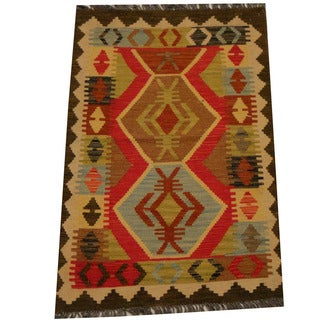 Herat Oriental Afghan Hand-woven Vegetable Dye Wool Kilim (2'7 x 3'11)
