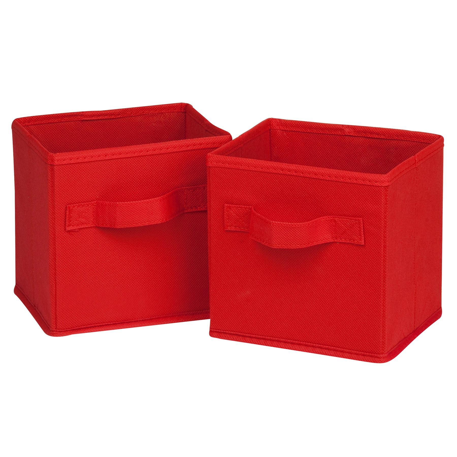 Honey-Can-Do SFT-02089 Mini Red Fabric Storage Bin Pack 2...