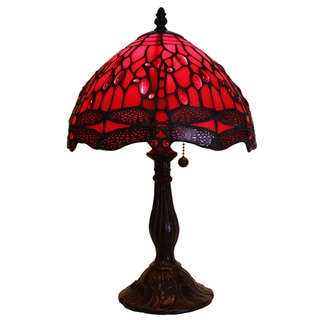 Odysseia One-light Red on Red Dragonfly 16-inch Tiffany-style Table Lamp