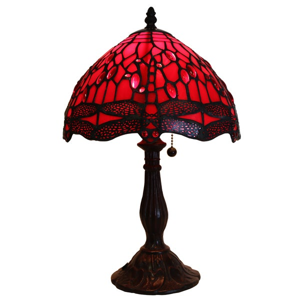 d428354ec6e3 Shop Odysseia One-light Red on Red Dragonfly 16-inch Tiffany-style Table  Lamp - On Sale - Free Shipping Today - Overstock - 12433829