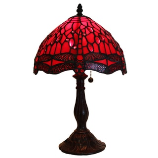 Odysseia One Light Red On Red Dragonfly 16 Inch Tiffany Style Table Lamp