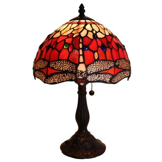 Warehouse of Tiffany Odilia Bronze/Stained Glass 16-inch 1-light Dragonfly Tiffany-style Table Lamp