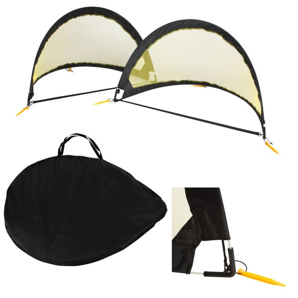 6' Black and Yellow Mesh Portable Soccer Goals with Carry Case & Stakes (Set of 2)
