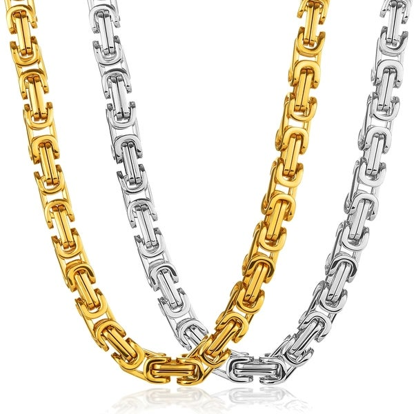 Shop Crucible Polished Stainless Steel Byzantine Chain