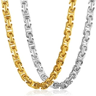 Crucible Men's High Polish Stainless Steel Byzantine Chain Necklace - 30 Inches (17mm Wide)