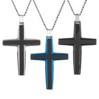 Crucible Men's Black Carbon Fiber High Polish Stainless Steel Cross Pendant on 24 Inch Curb Chain Necklace