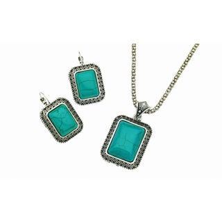 Faux turquoise scroll design necklace and earring set