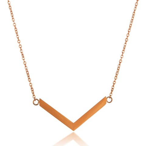 ELYA Polished Chevron Stainless Steel Necklace - 18 Inches