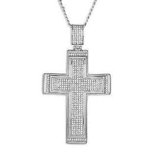 Crucible Men's 4.5 CTTW Cubic Zirconia Stainless Steel Cross Pendant on 24 Inch Curb Chain Necklace