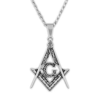 Men's Polished Stainless Steel Masonic Pendant on 24 Inch Curb Chain Necklace