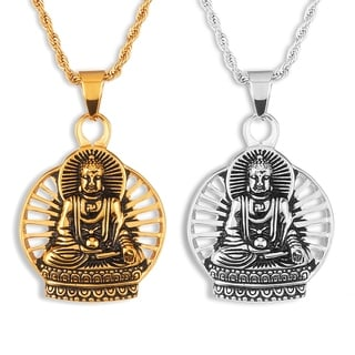 Men's Stainless Steel Meditating Buddha Pendant on 24 Inch Rope Chain Necklace