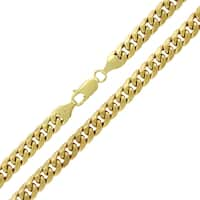 """10k Yellow Gold 6.5mm Hollow Miami Cuban Curb Link Thick Necklace Chain 22"""" - 36"""""""