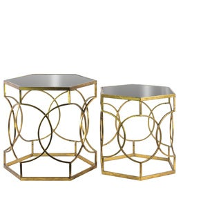 Metal Hexagonal Nesting Accent Table with Mirror Top and Circle Lattice Design Body Set of Two Tarnished Finish Antique Gold