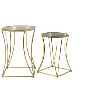 Metal Octagonal Nesting Accent Table with Mirror Top, Tapered Body and Square Base Set of Two Tarnished Finish Antique Gold