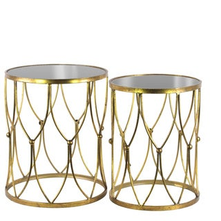 Metal Round Nesting Accent Table with Mirror Top and, Beads and Curves Design Base Set of Two Tarnished Finish Antique Gold