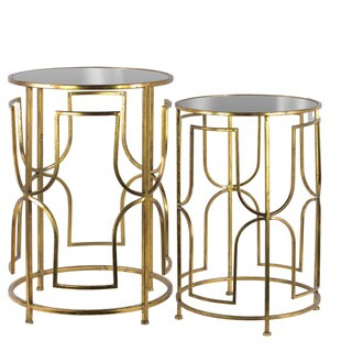 Metal Round Nesting Accent Table with Mirror Top and Square Lattice Design Base Set of Two Tarnished Finish Antique Gold