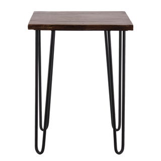 Wood Square Table with 4 Metal Hairpin Legs Stained Wood Finish Brown