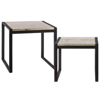 Metal Rectangular Nesting Console Table with Wood Top and 2 Rectangular Legs Set of Two Metallic Finish Black