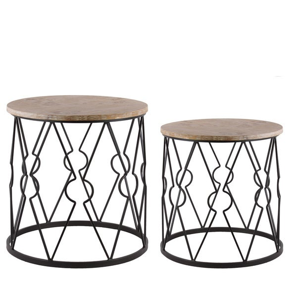 Metal Round Nesting Accent Table With Wood Top And Diamond Lattice Design Body Set Of Two Metallic Finish Black Free Shipping Today