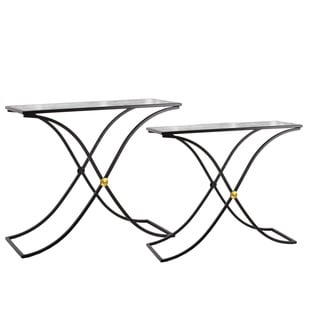 Metal Rectangular Nesting Table with Marble Top and Rectangle Cross Legs Set of Two Metallic Finish Black