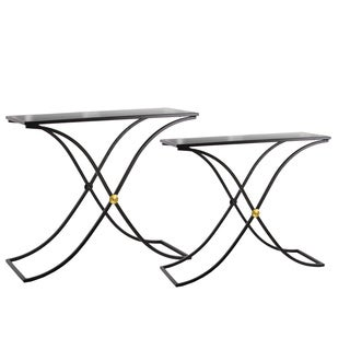 Metal Rectangular Nesting Table with Mirror Top and Rectangle Cross Legs Set of Two Metallic Finish Black